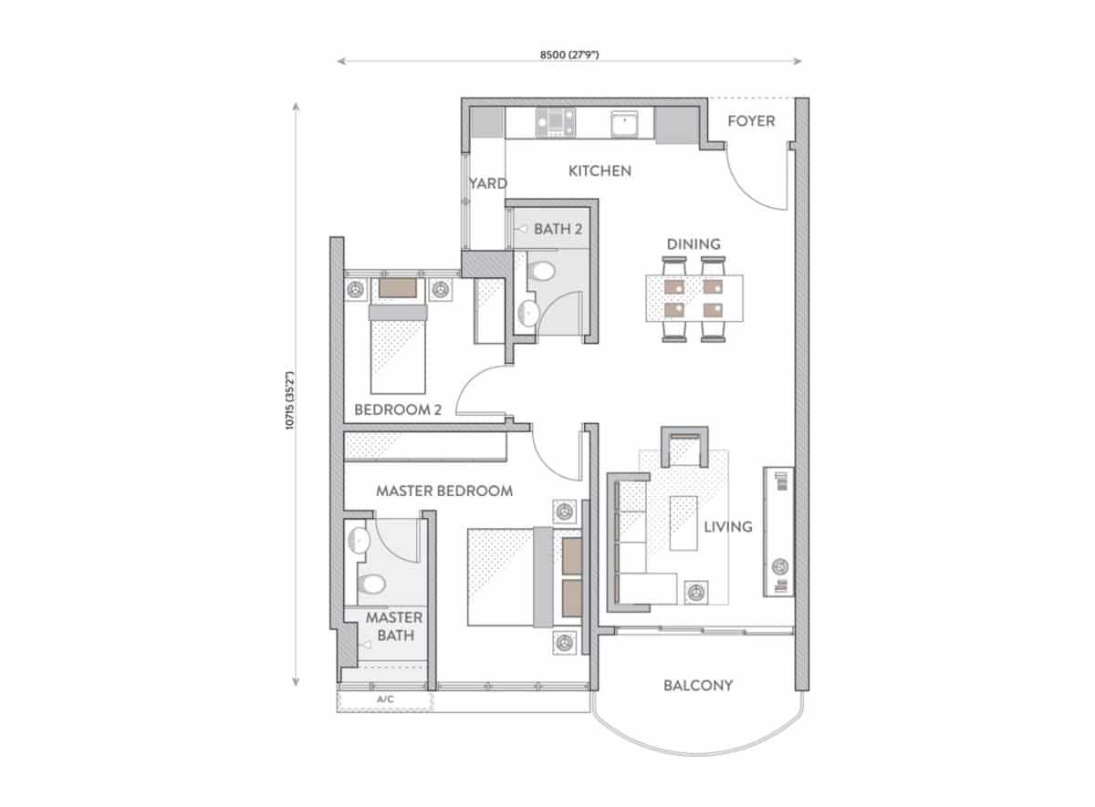 Pelan Lantai Senada Residences Type A