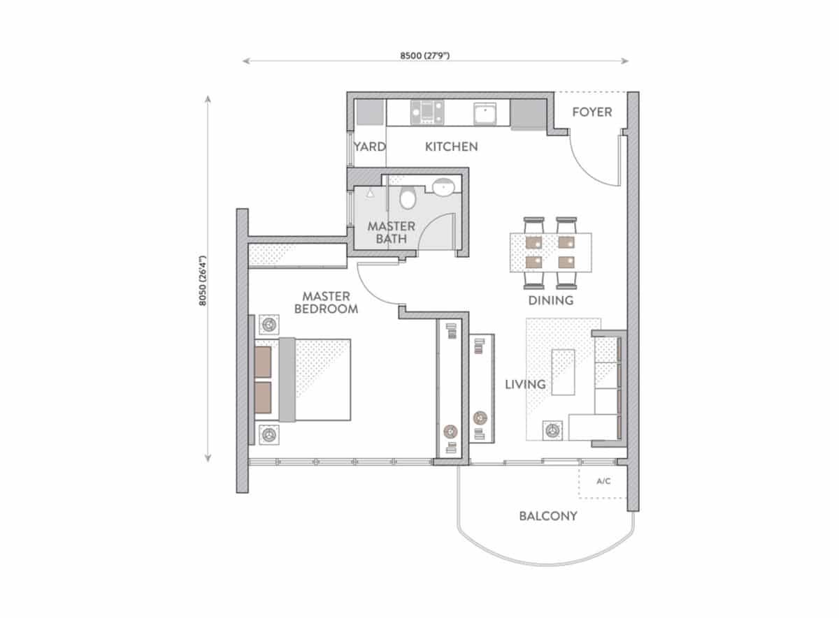 Jenis Pelan Lantai Senada Residences Type B