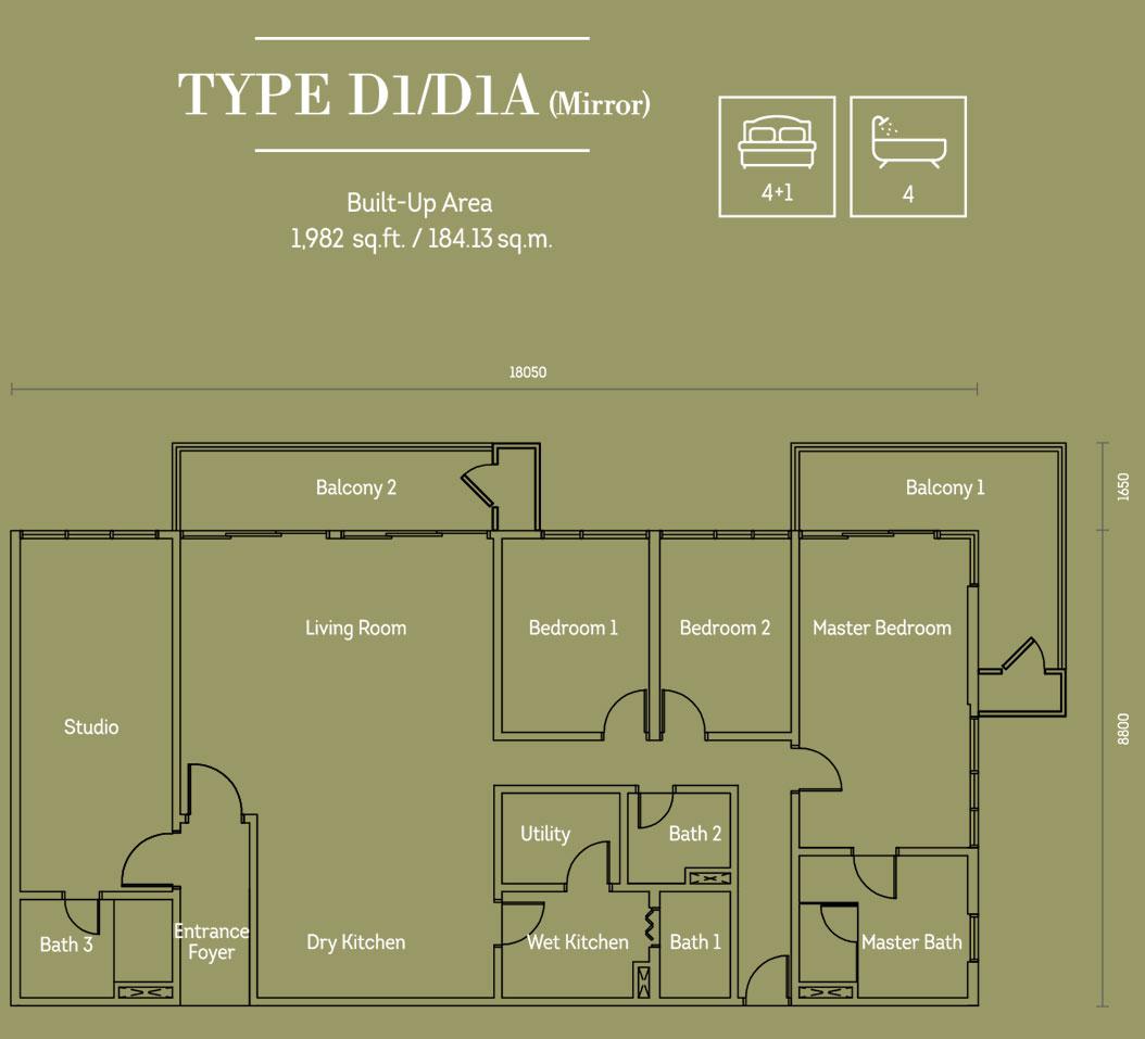 Hampton Damansara平面图D1 D1A型