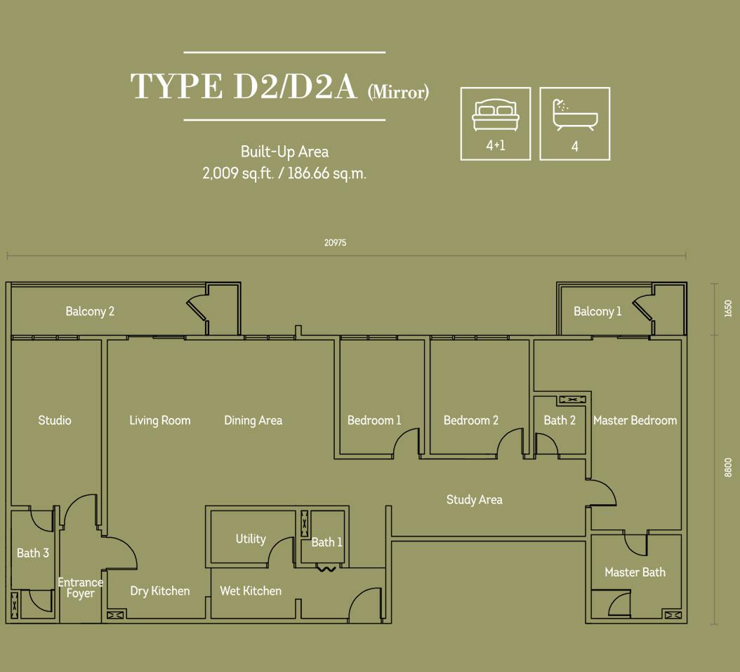 Hampton Damansara户型图D2 D2A