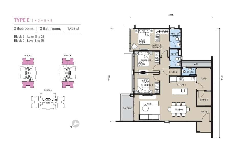 Alstonia Residence Floor Plan Type E