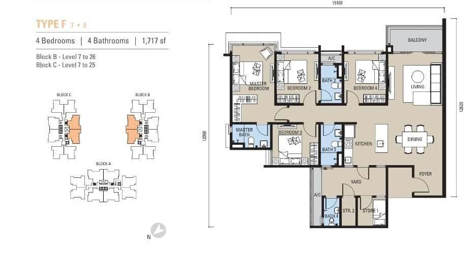 Alstonia Residence Floor Plan Type F