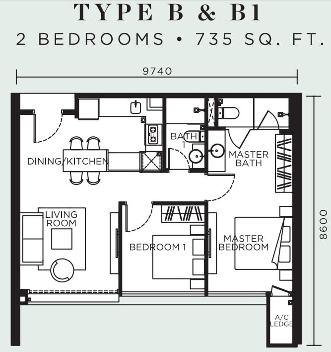 Avelia Ampang Floor Plan Type B & B1
