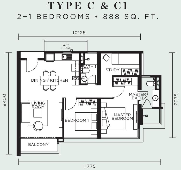 Avelia Ampang Floor Plan Type C & C1