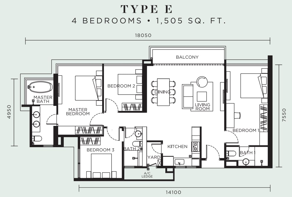 Avelia Ampang Floor Plan Type E