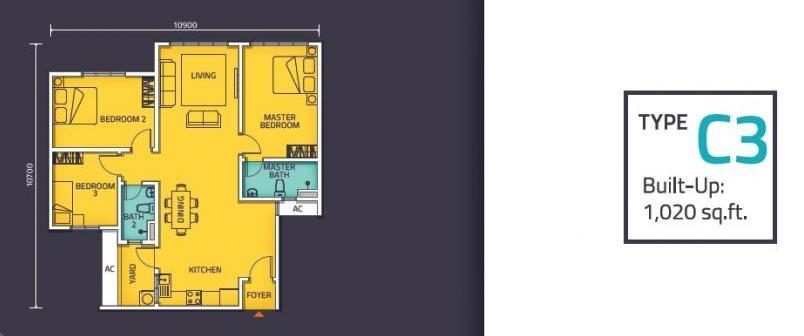 Nexus @ Kajang Station (Tower C) Floor Plan Type C3