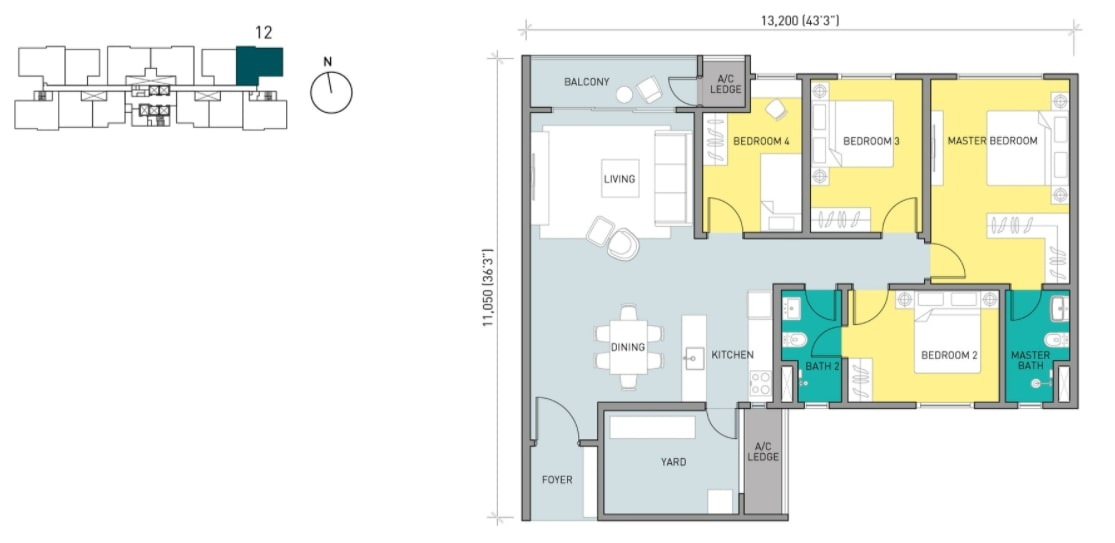 Residensi Ava Floor Plan Type E