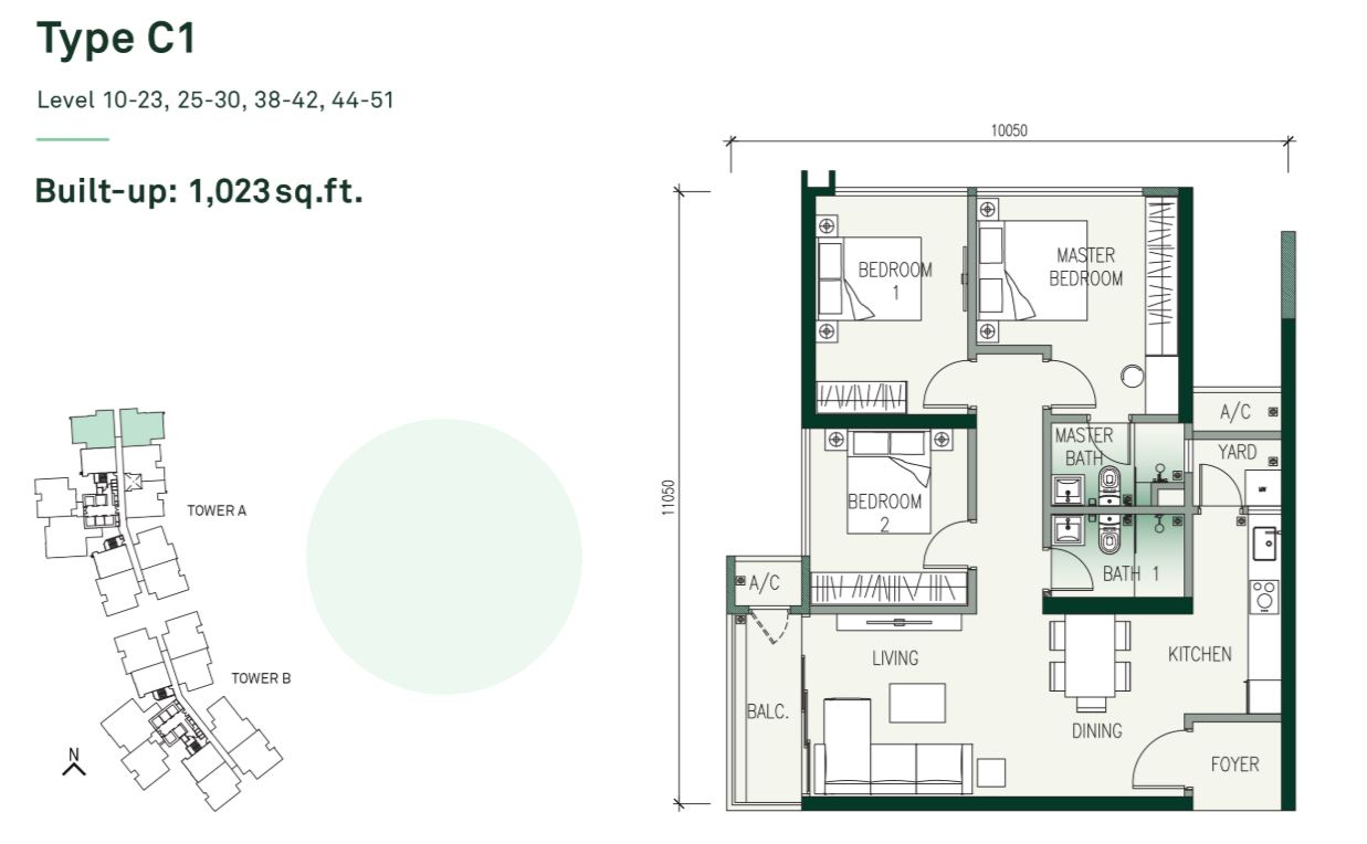 The Era Duta North Floor Plan Type C1